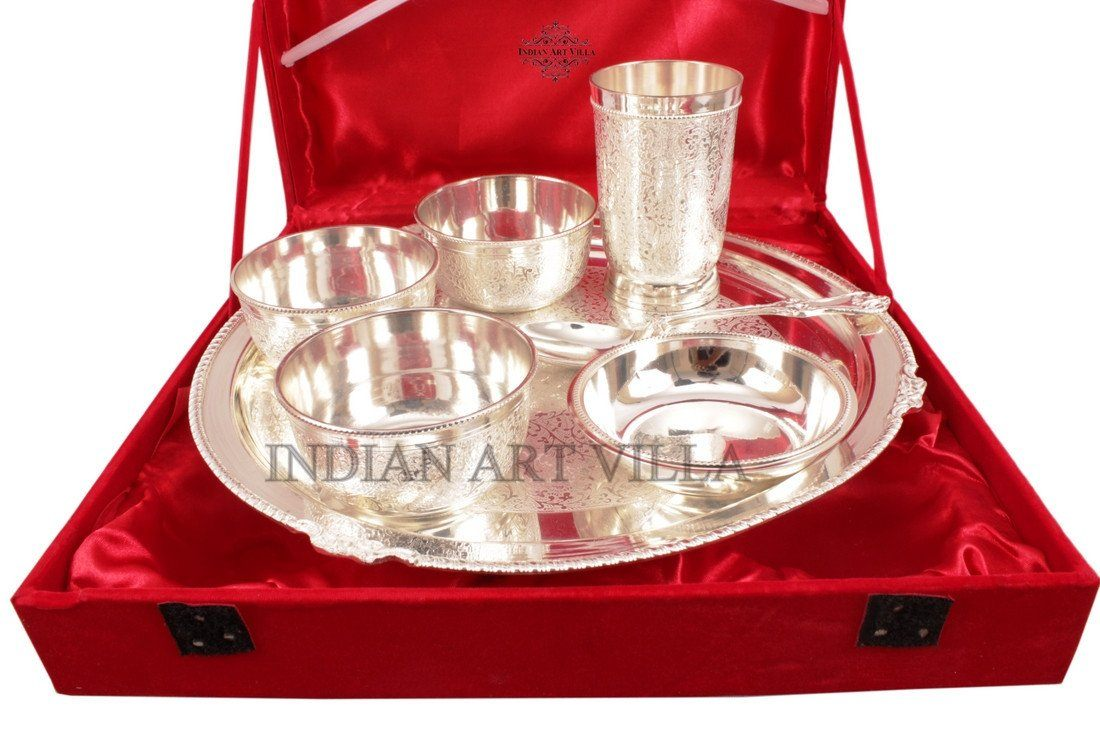 Silver Plated 7 Piece Dinner Set Thali Set Gift Packing Box