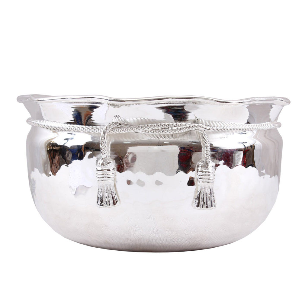 Silver Plated Big M Design Bowl|Decorative Gift Item 2500 ML Silver Plated Bowls SP-3