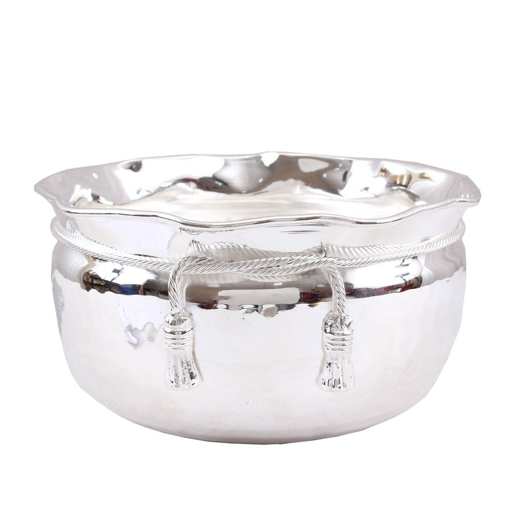 Silver Plated Big M Design Bowl|Decorative Gift Item 2500 ML