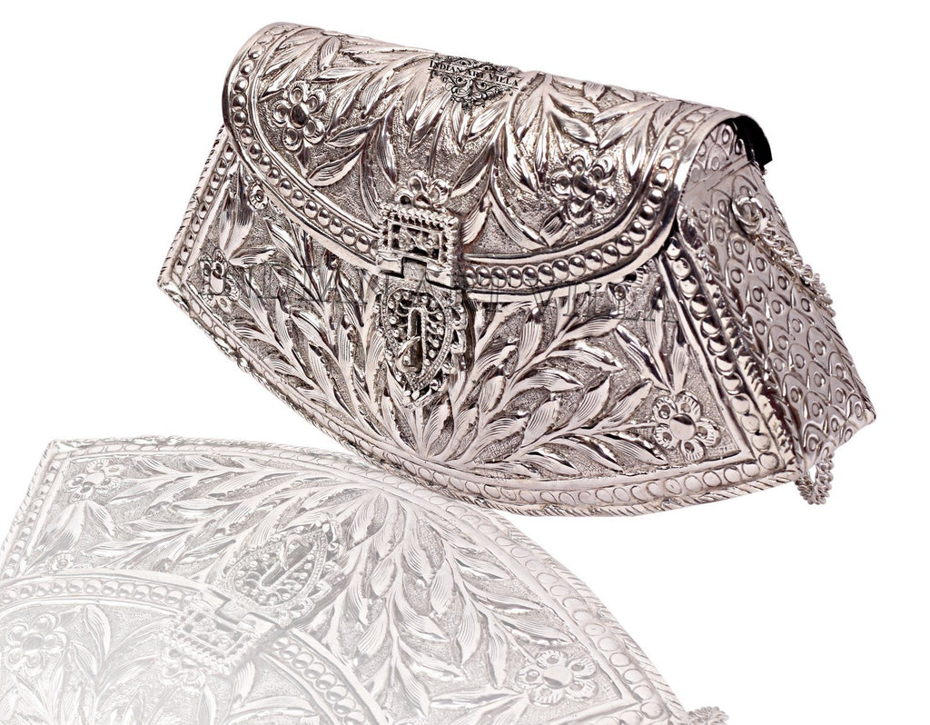 Silver Plated Clutch Design Sling Purse, Wedding Party, Side Bag Gift for Women Accessories HR-6