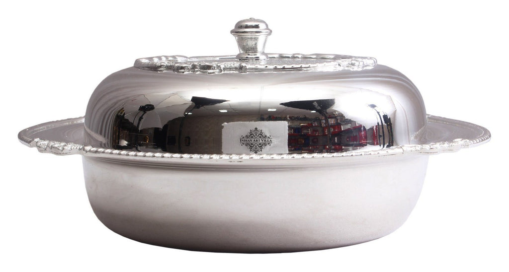 Silver Plated Designer Casserole Donga 40 Oz Silver Plated Decorative Boxes Indian Art Villa