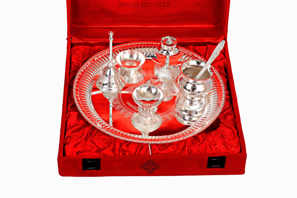 Silver Plated Designer Pooja Thali Set Silver Plated Worship Plates IAV-SP-3-179
