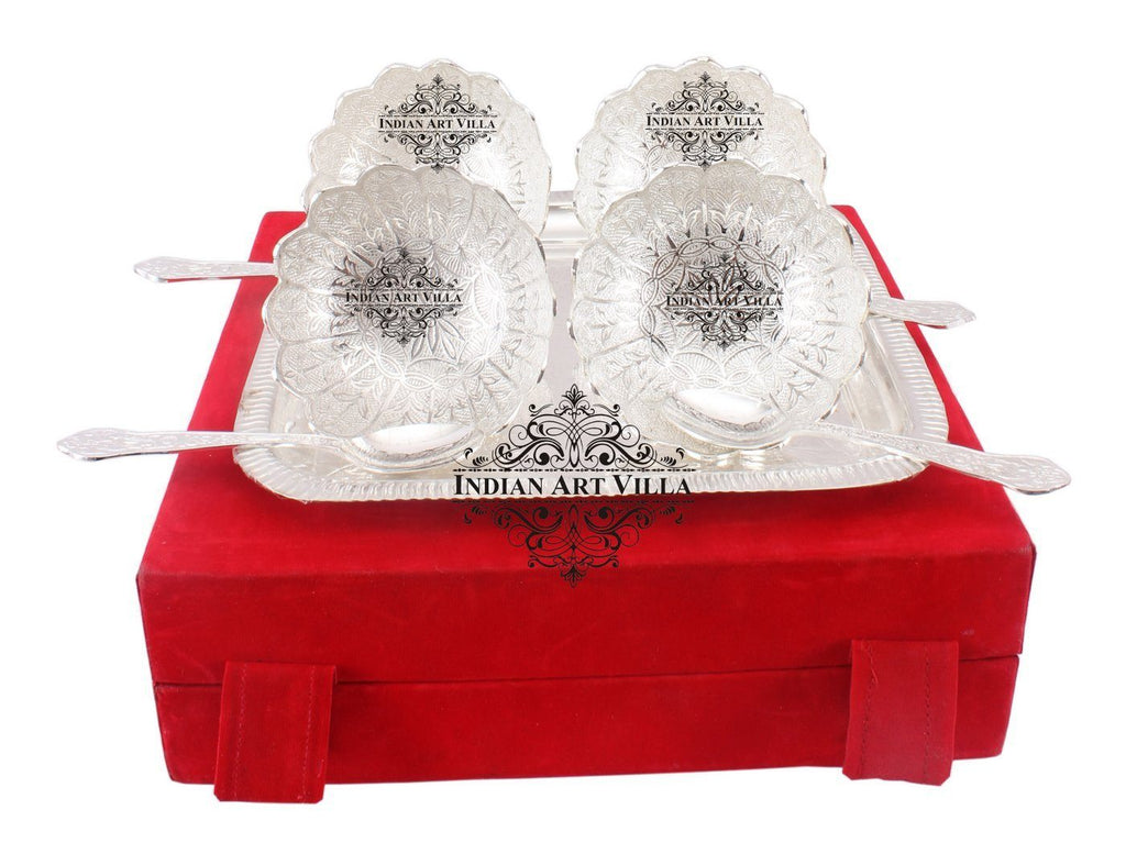 Silver Plated Designer Set of 4 Bowl with 4 Spoon & 1 Tray Silver Plated Combo Sets Indian Art Villa