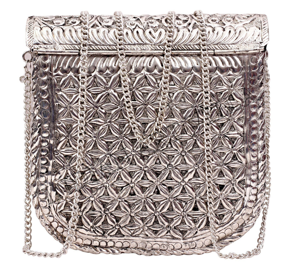 Silver Plated Designer Sling Purse Side Handbag, Women Wedding Party, Gift Item Accessories HR-6