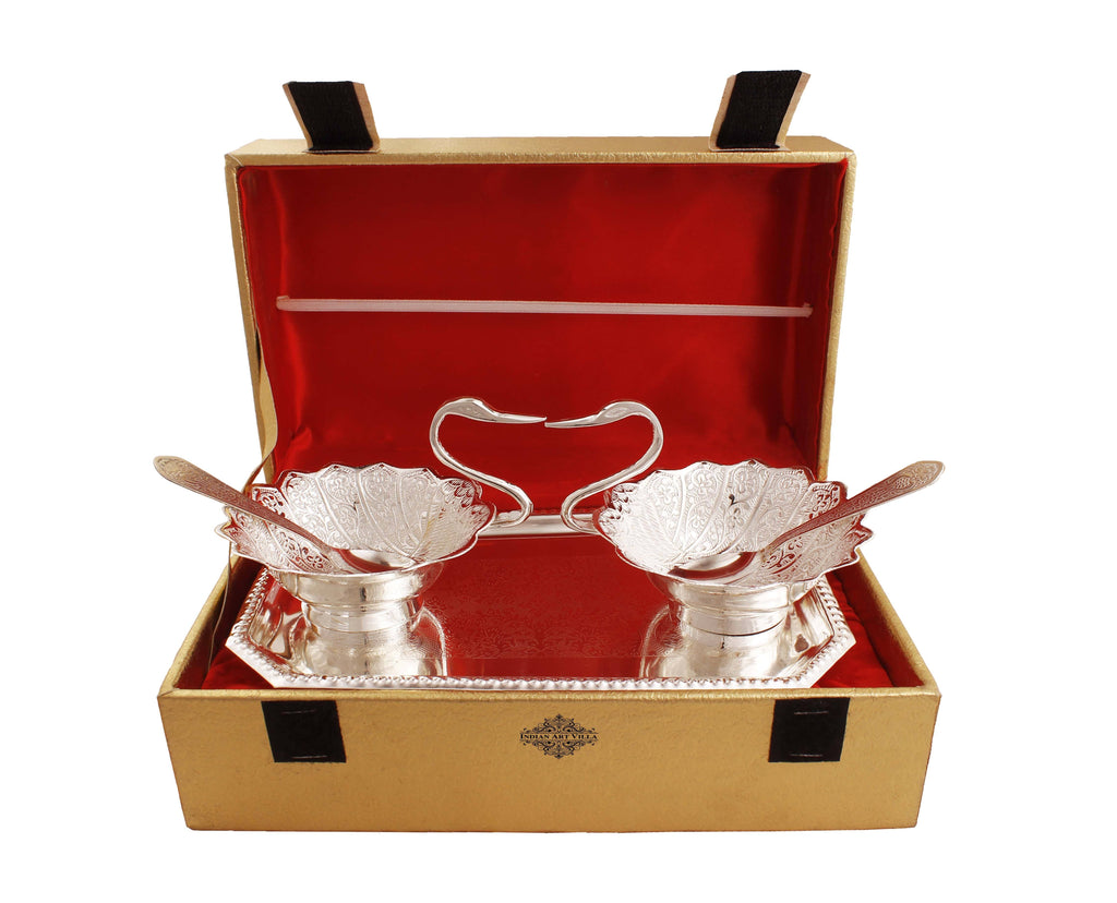 Silver Plated Duck Design 2 Bowl, 2 Spoon & 1 Tray, 5 Pieces Silver Plated Combo Sets IAV-SP-3-185-