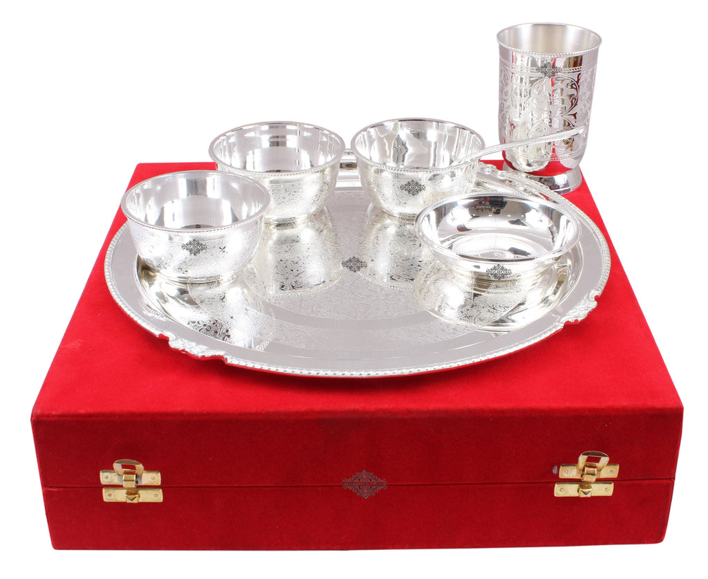 Silver Plated Embossed Design Thali Set 3 Bowl 1 Glass 1 Chuttni Bowl 1 Spoon 1 Plate (7 Pieces) Silver Plated Dinner Sets SP-1