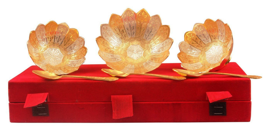 Silver Plated Gold Polish Dry Fruit Bowl Silver Plated Bowls Indian Art Villa