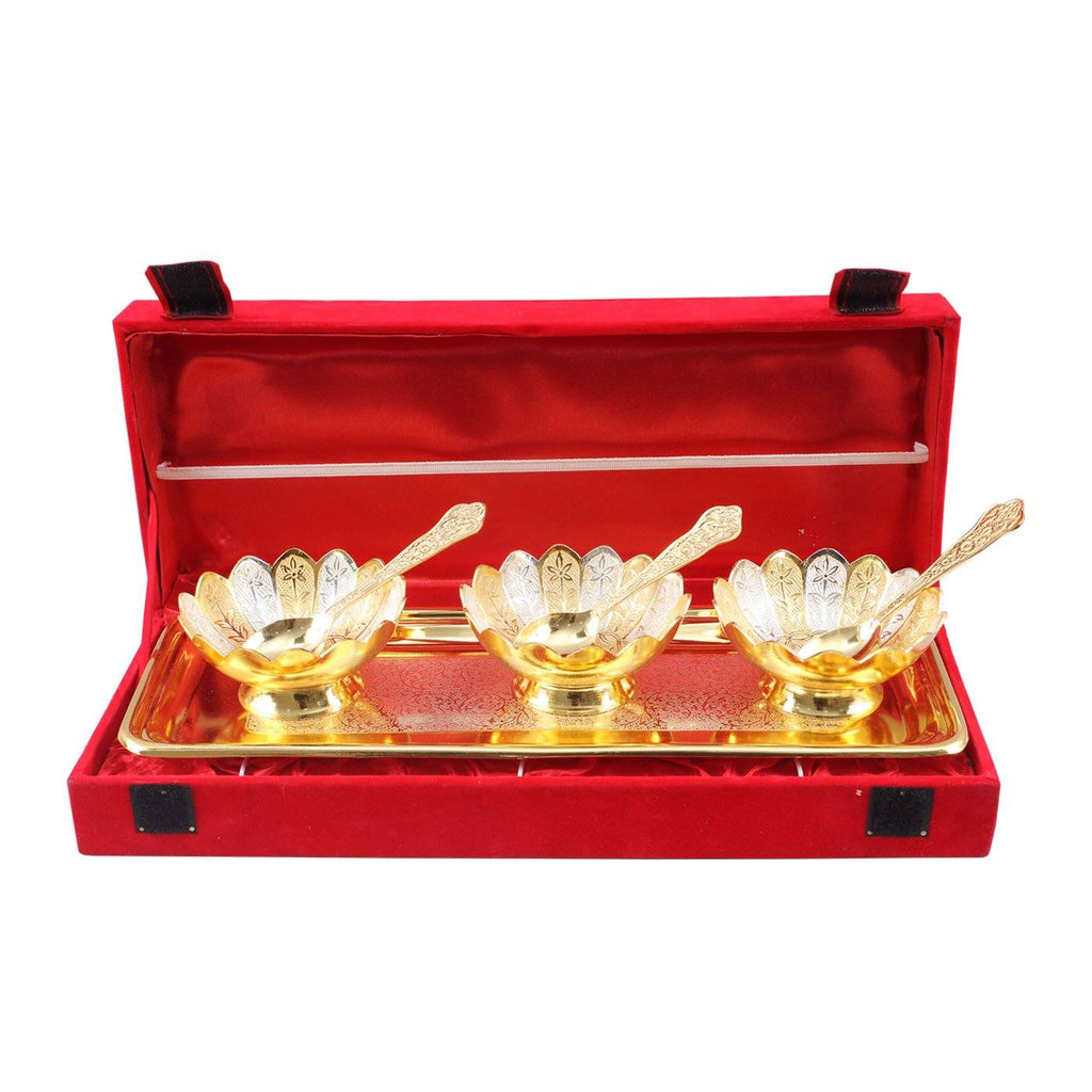 Silver Plated Gold Polish Set of 3 Lotus Design Bowl with 3 Spoon & 1 tray Silver Plated Combo Sets SP-3