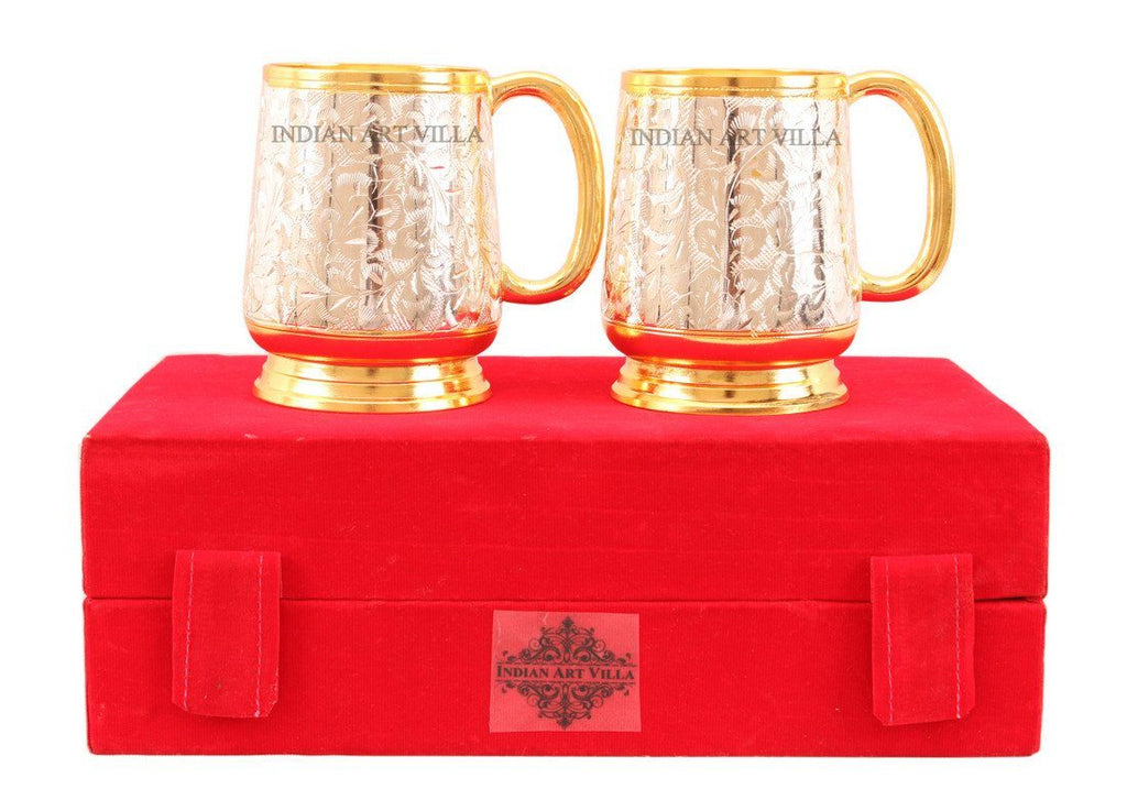 Silver Plated Gold Polished Classic 2 Beer Mug Set Silver Plated Tumblers Indian Art Villa
