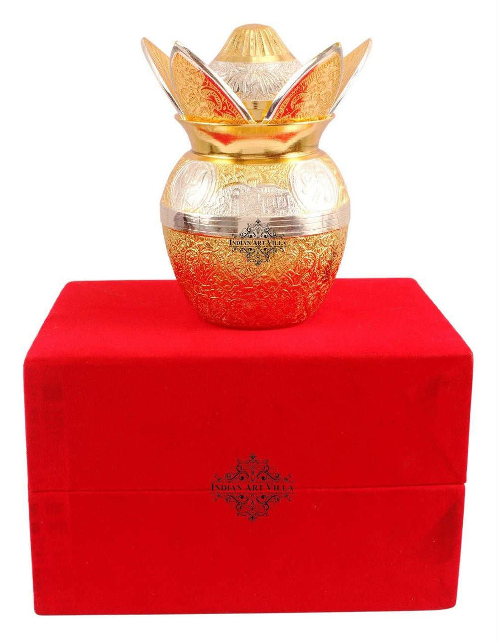 Silver Plated Gold Polished Designer Mangal Kalash with Coconut Kalash IAV-SP-3-137-
