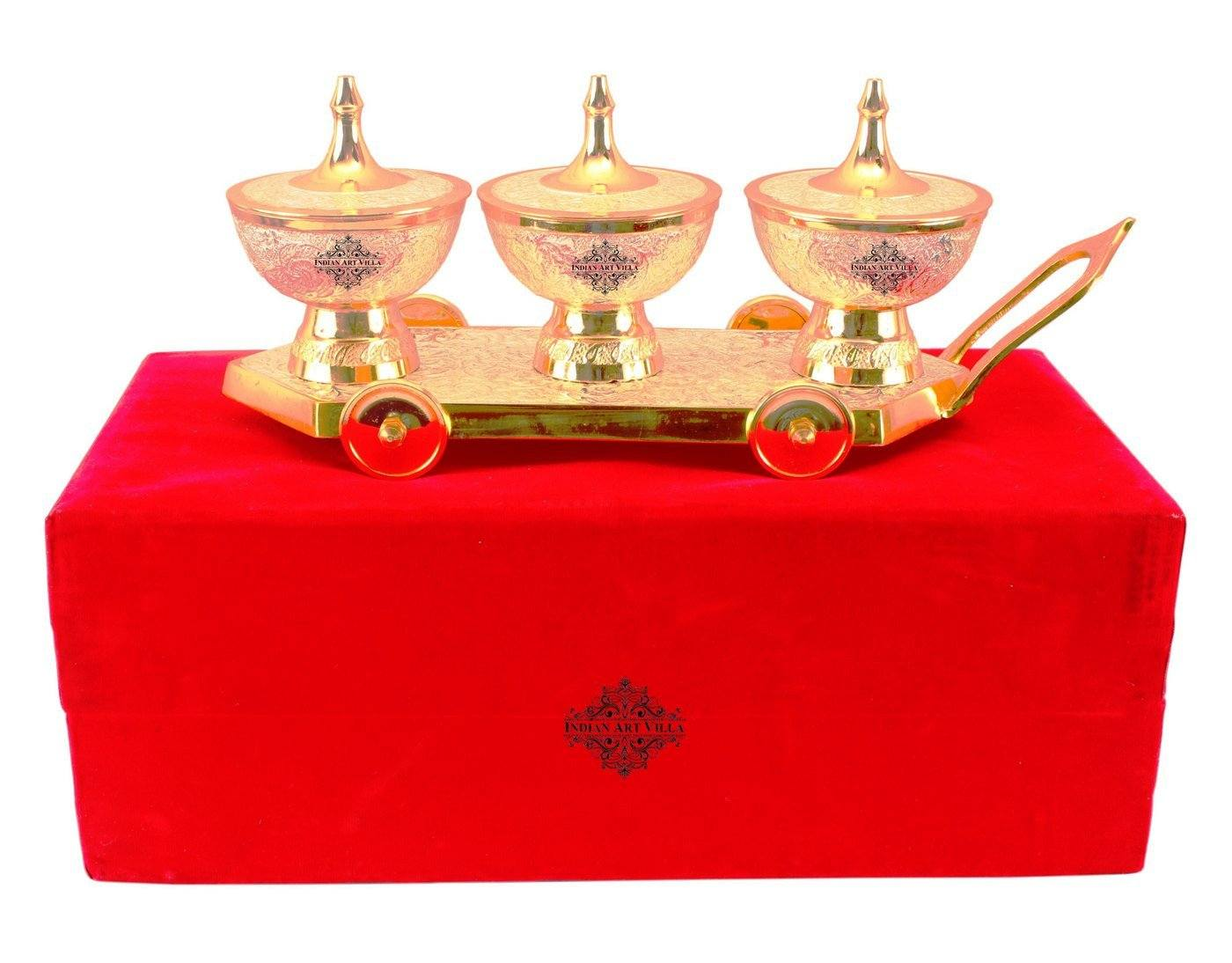 Silver Plated Gold Polished Dry Fruits Bowl Trolley