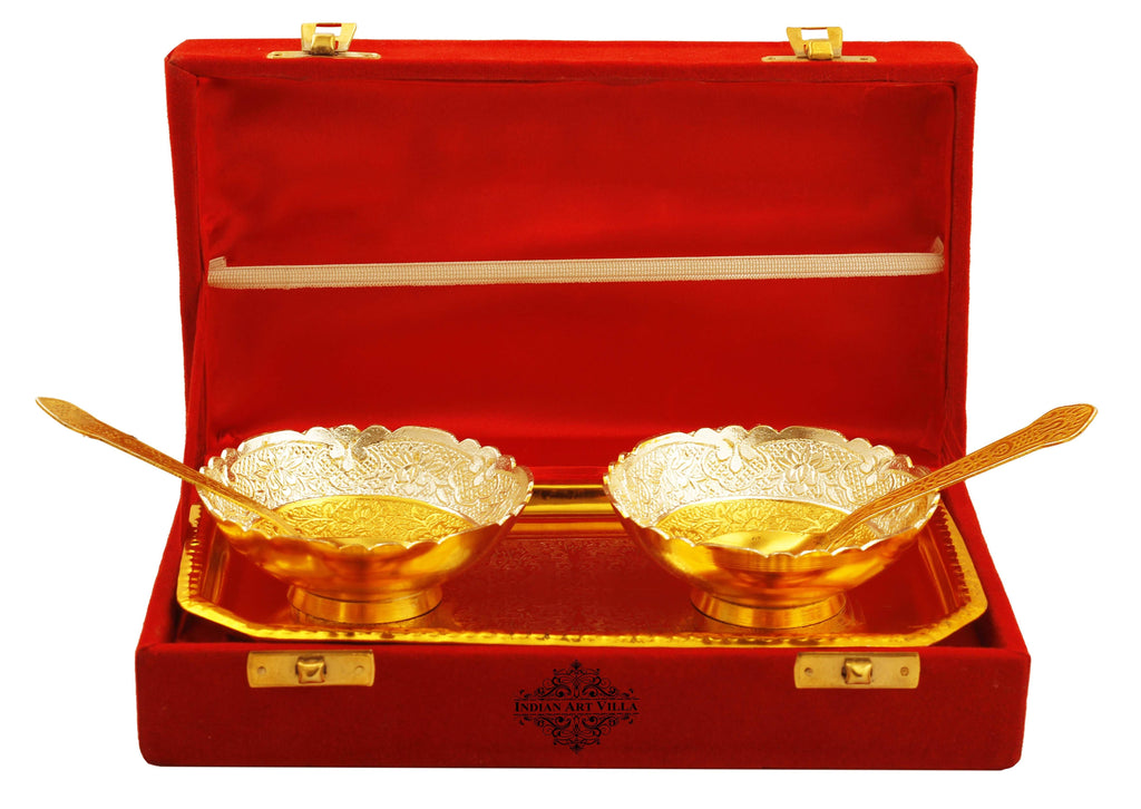 Silver Plated Gold Polished Embossed Flower Design 2 Bowl with 2 Spoon & 1 Tray Silver Plated Combo Sets IAV-SP-8-102-SG-2