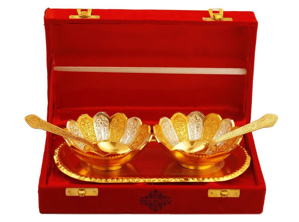 Silver Plated Gold Polished Lotus Design 2 Bowl with 2 Spoon & 1 Tray Silver Plated Combo Sets IAV-SP-8-103-SG-2