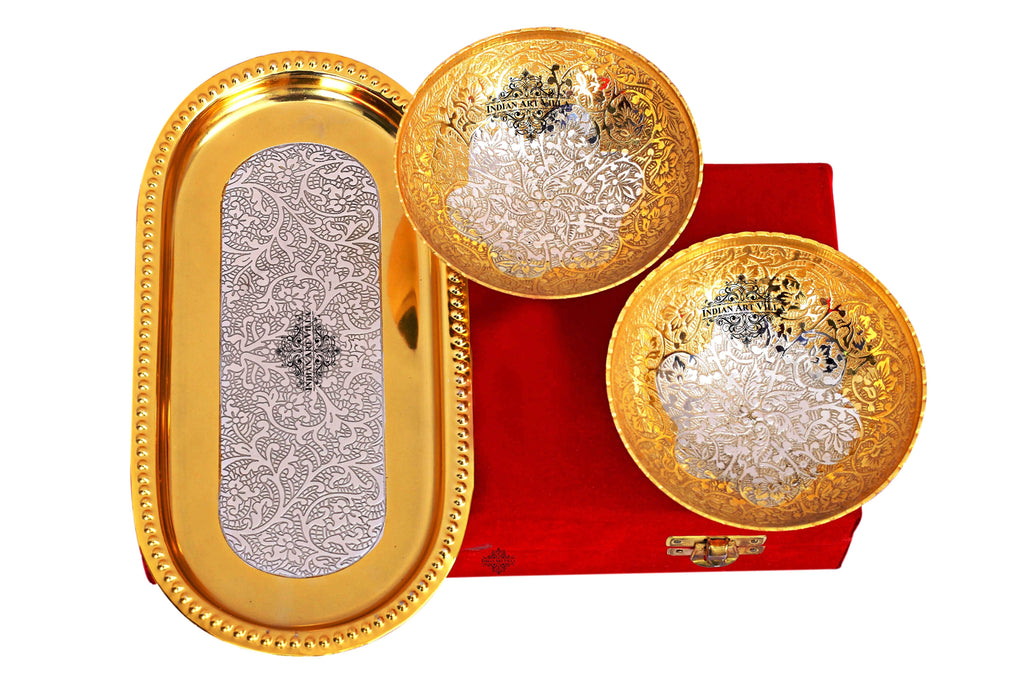 Silver Plated Gold Polished Set of 2 Bowl with Tray ( 3 Pieces) Silver Plated Combo Sets SP-3