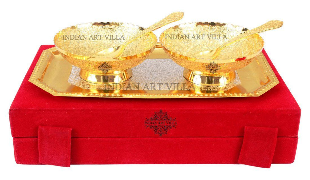 Silver Plated Gold Polished Set of 2 Desert Bowl 2 Spoon and 1 Tray Silver Plated Combo Sets Indian Art Villa