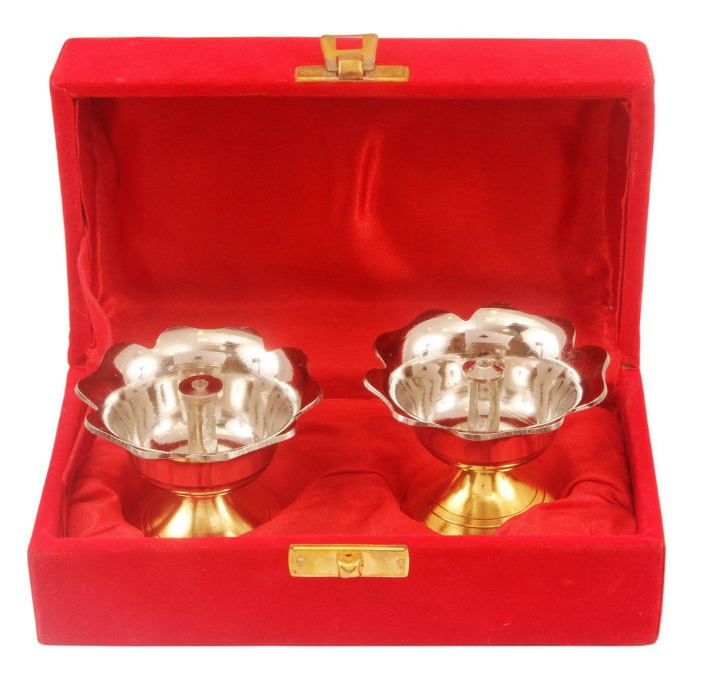 Silver Plated Gold Polished Set of 2 Diya Deepak Silver Plated Worship Plates Indian Art Villa