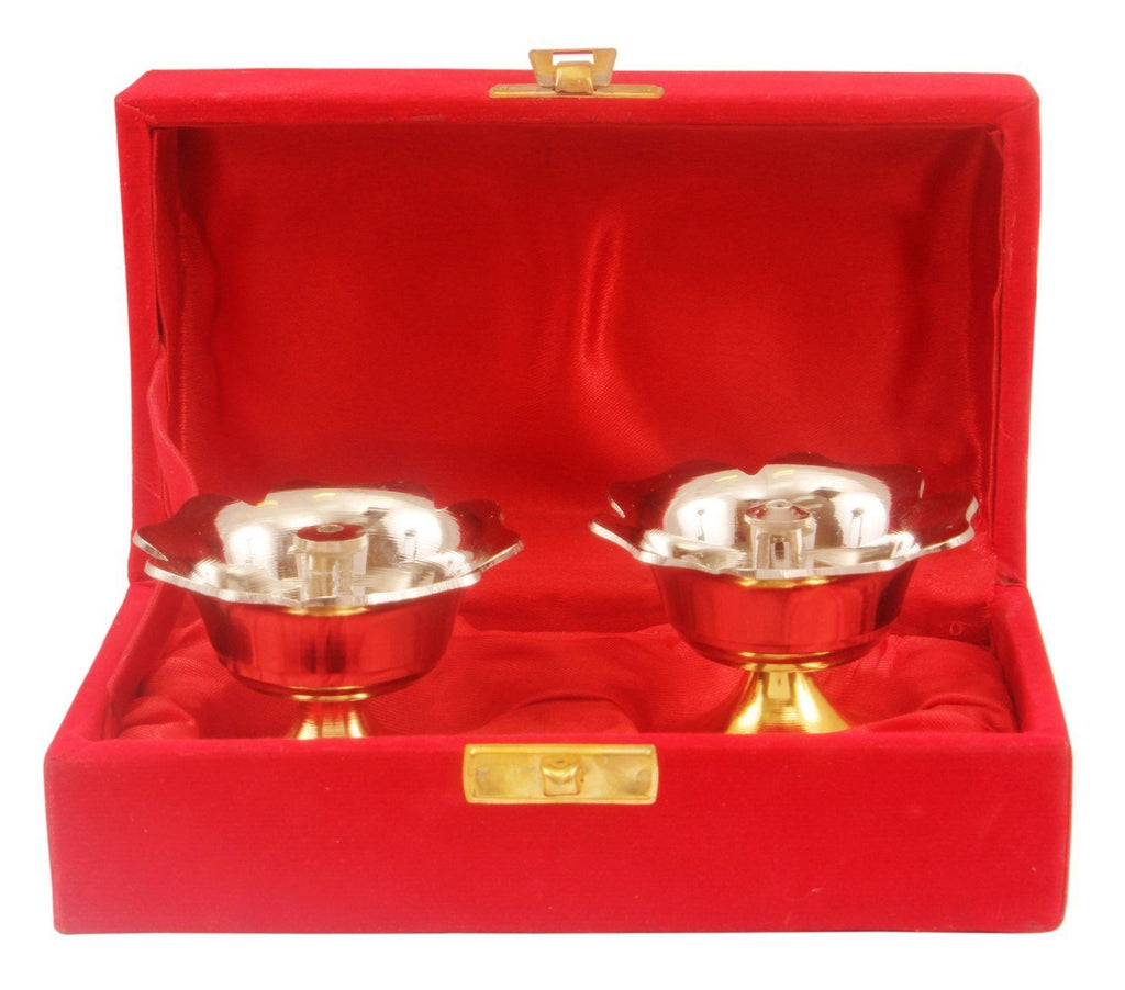 Silver Plated Gold Polished Set of 2 Diya Deepak