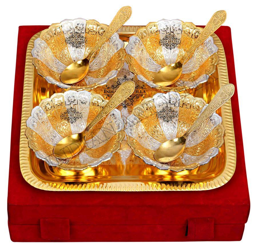 Silver Plated Gold Polished, Set of 4 design Bowl with 4 Spoon & 1 Tray Silver Plated Combo Sets SP-3