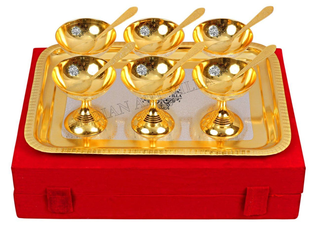 Silver Plated Gold Polished, Set of 6 Ice Cream Bowl with 6 Spoon & 1 Tray Silver Plated Combo Sets SP-3