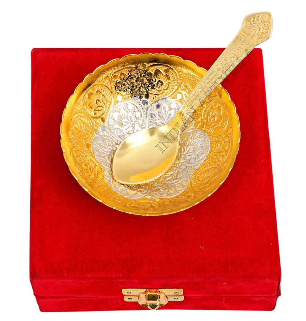Silver Plated Gold Polished, Set of Designer Bowl with 1 Spoon Silver Plated Combo Sets SP-3