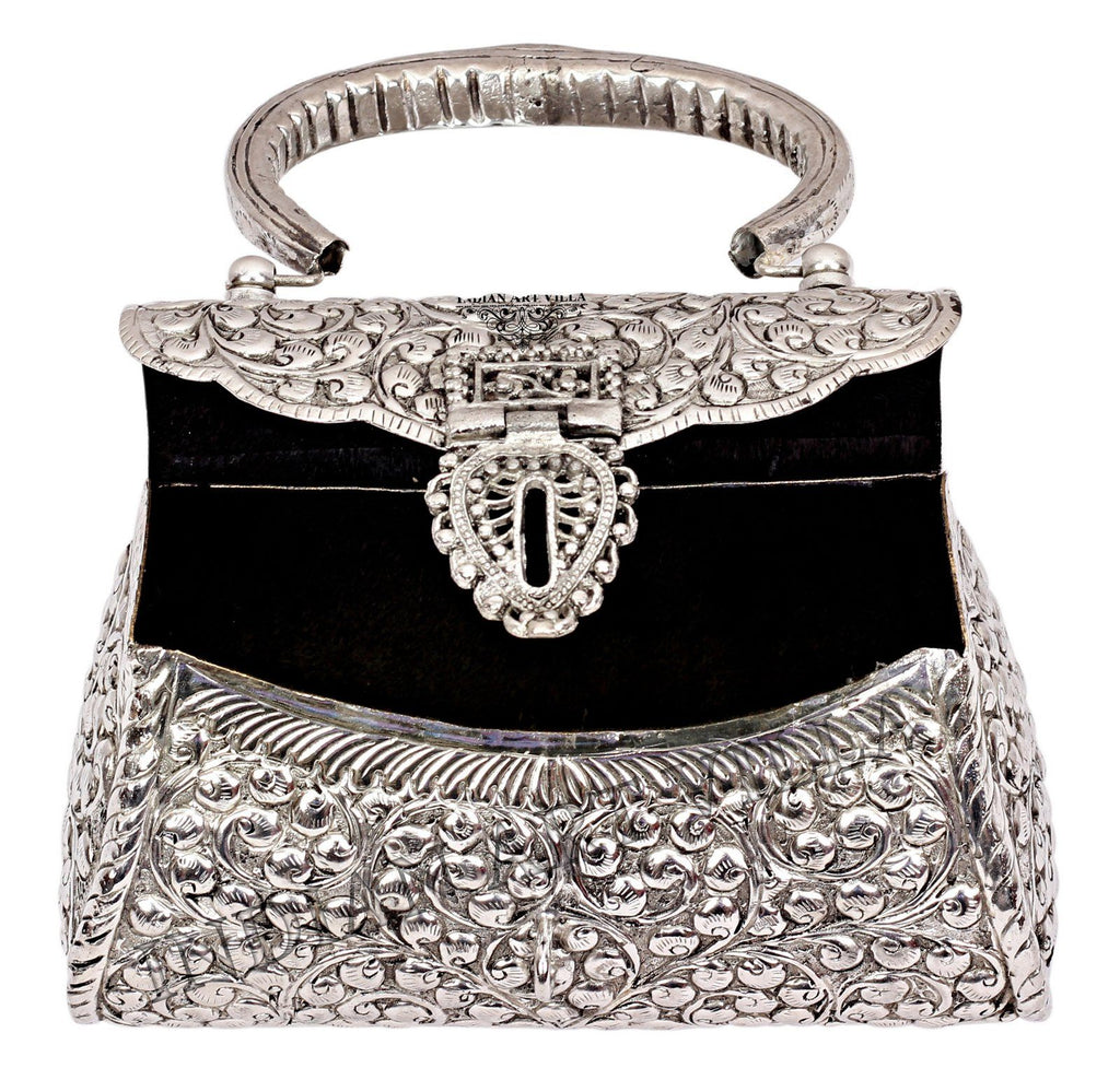 Silver Plated Handbag Purse, Women Wedding Clutches Accessories HR-6