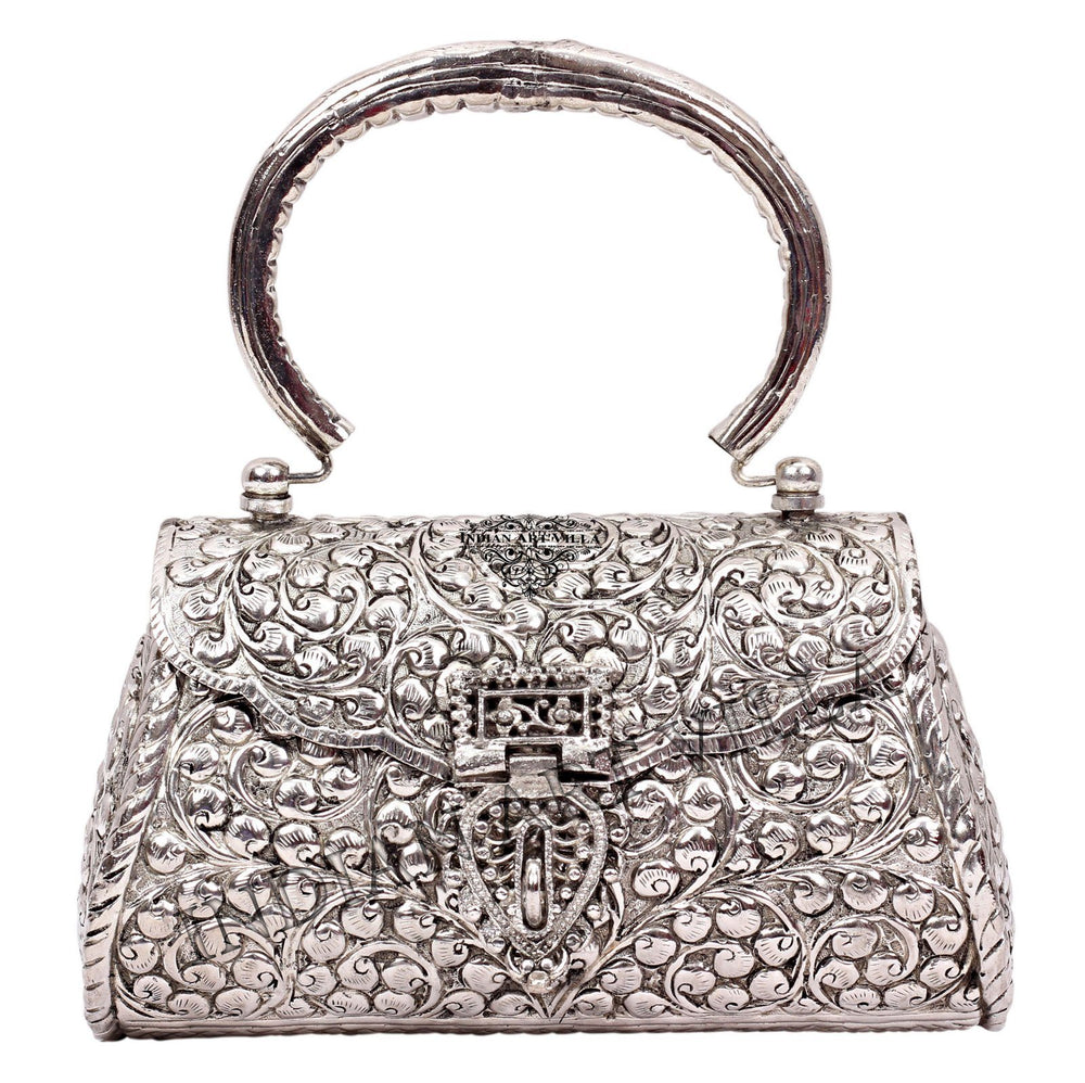 Silver Plated Handbag Purse, Women Wedding Clutches