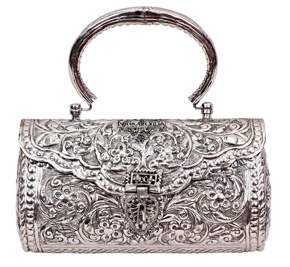 Silver Plated Handbag Purse, Women Wedding Clutches, Gift Item