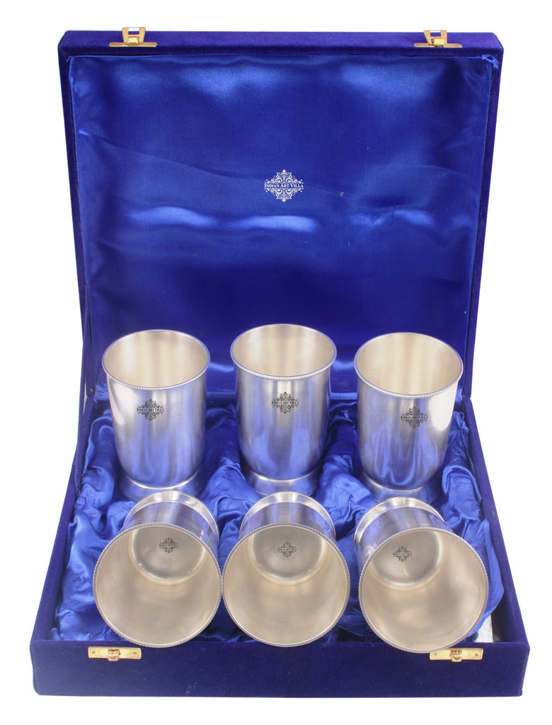 Silver Plated Handmade Designer Glass Set Pack of 6 Silver Plated Combo Sets SP-2