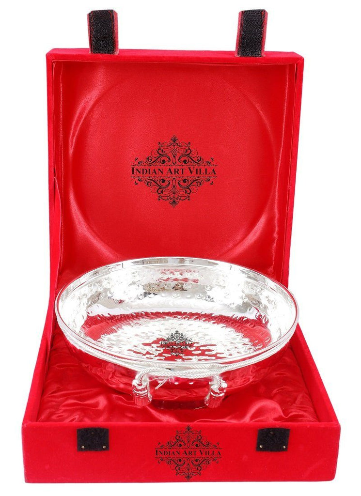Silver Plated Handmade M Design Bowl - Decorative Centerpiece Tableware