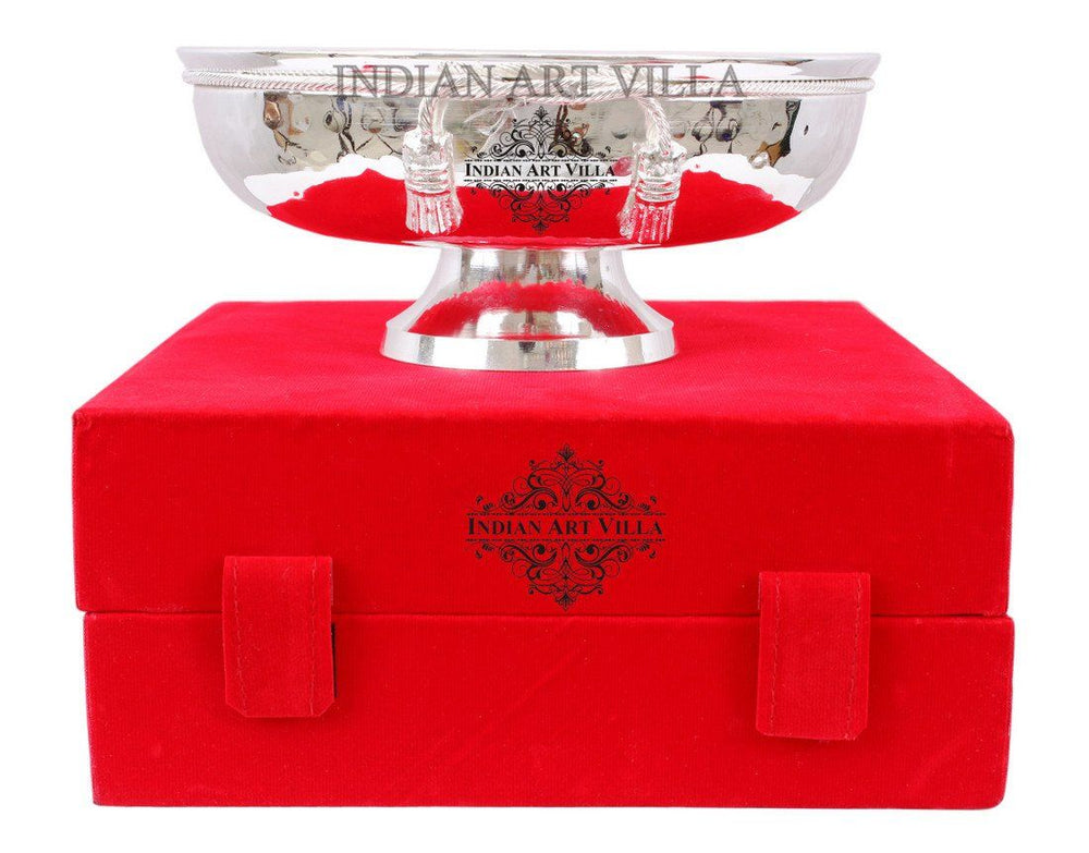 Silver Plated M Design Bowl with Red Gift Box Silver Plated Bowls Indian Art Villa
