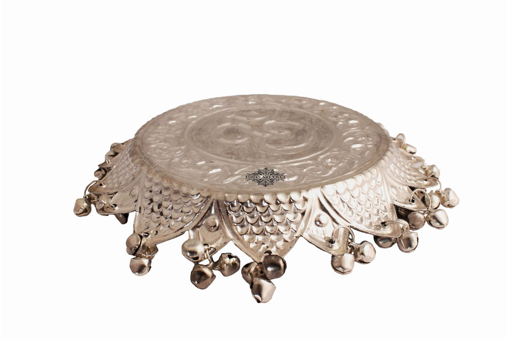 Silver Plated Om Design Pooja Thali Plate Silver Plated Worship Plates IAV-SP-5-103-OM