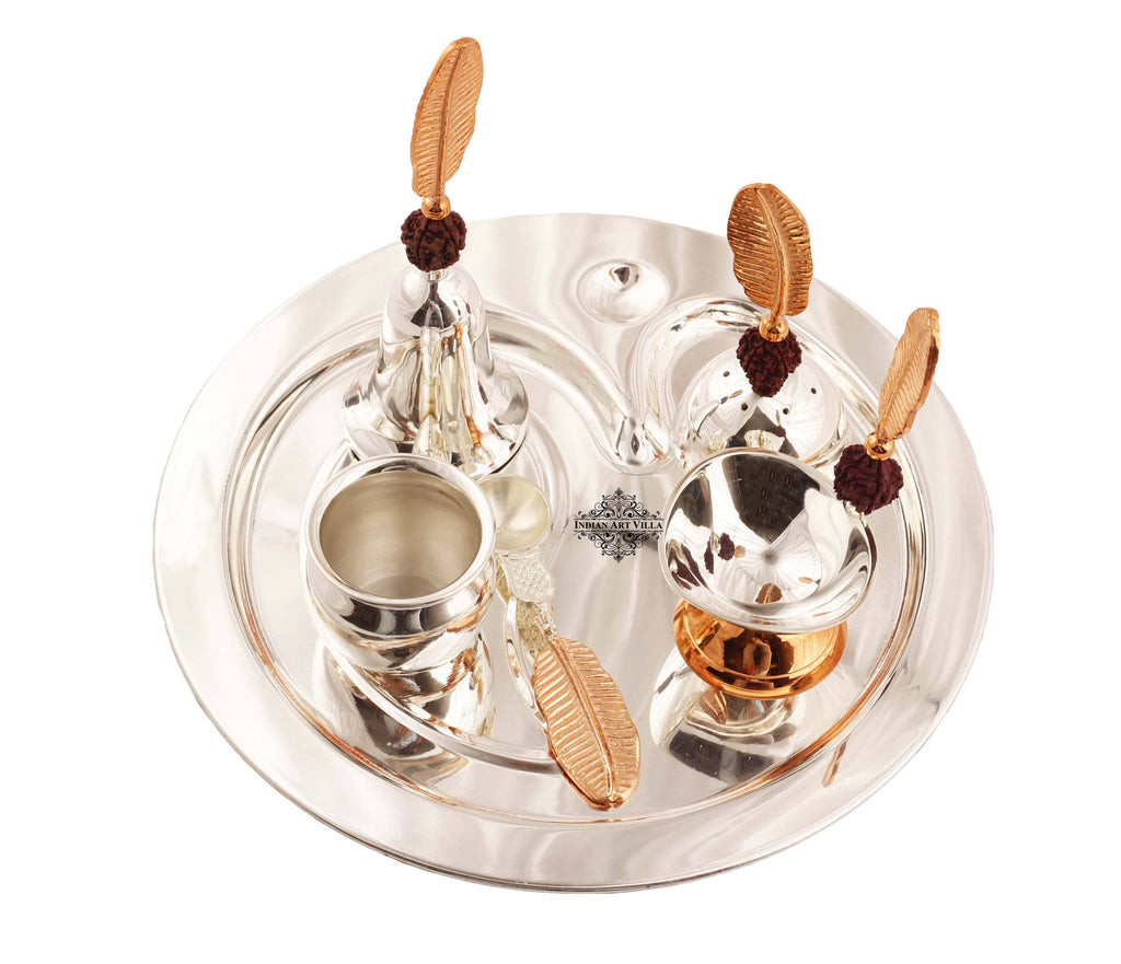 Silver Plated Om Design Rudraksh Pooja Thali Set 6 Pieces Silver Plated Worship Plates IAV-SP-3-192
