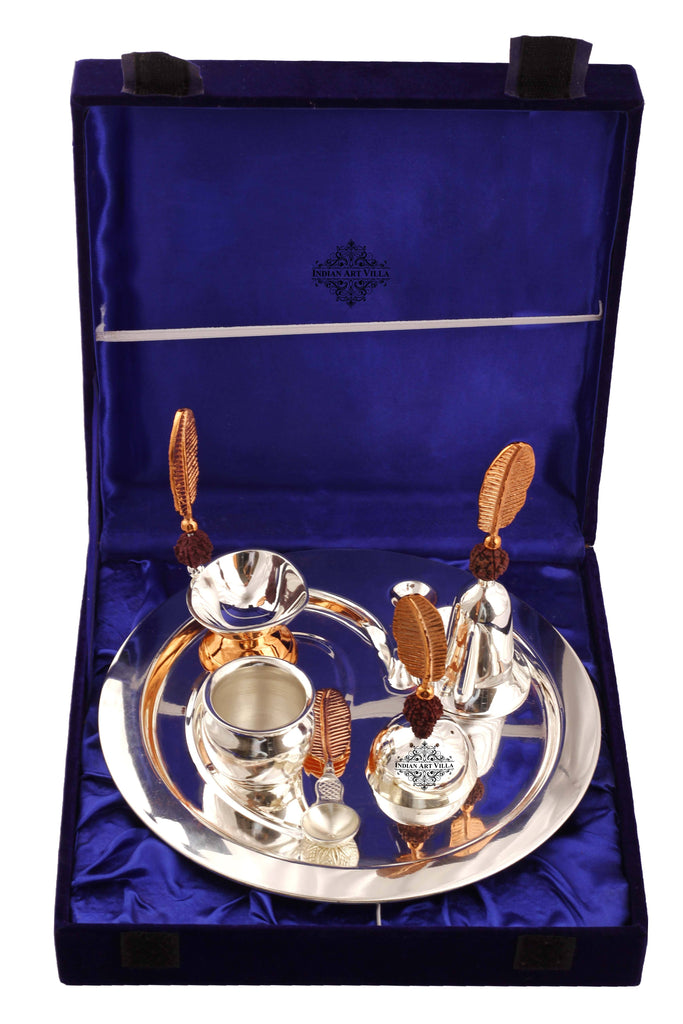 Silver Plated Om Design Rudraksh Pooja Thali Set 6 Pieces