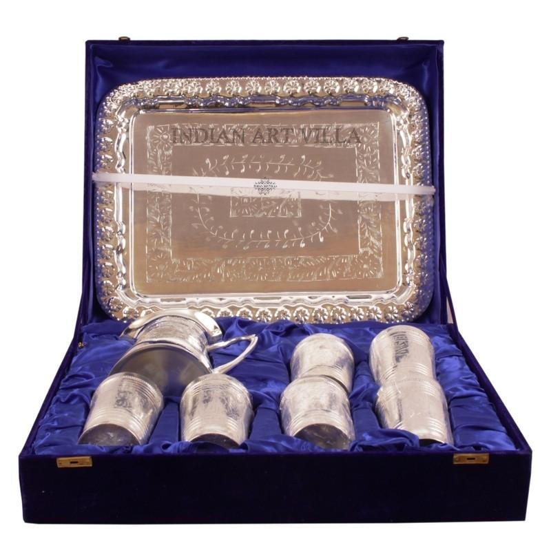 Silver Plated Pitcher Jug, 6 Glass Tumbler & a Serving Tray Gift Box