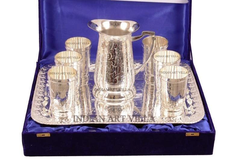 Silver Plated Pitcher Jug, 6 Glass Tumbler & a Serving Tray Gift Box Silver Plated Tumblers Indian Art Villa