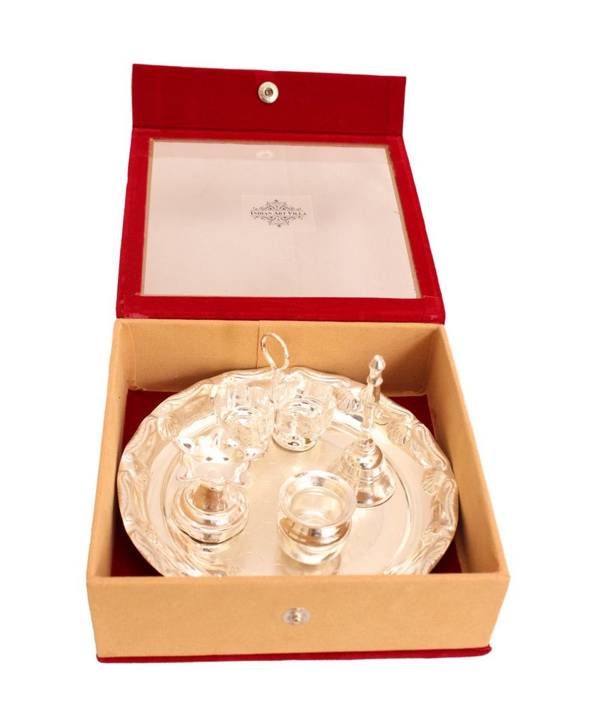 Silver Plated Pooja Thali for worship Decorative Gift Item ( 5 piece )
