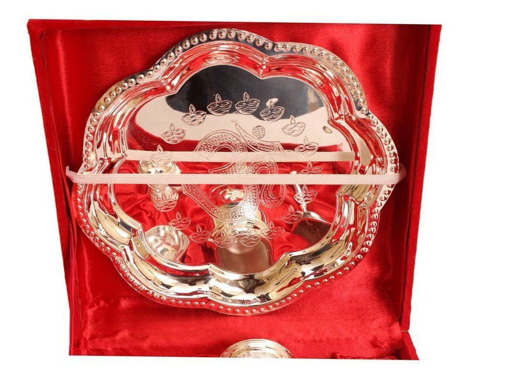 Silver Plated Pooja Thali Set of 7 piece worship Festivals Occasion Gift Item Pooja Thali SP-3