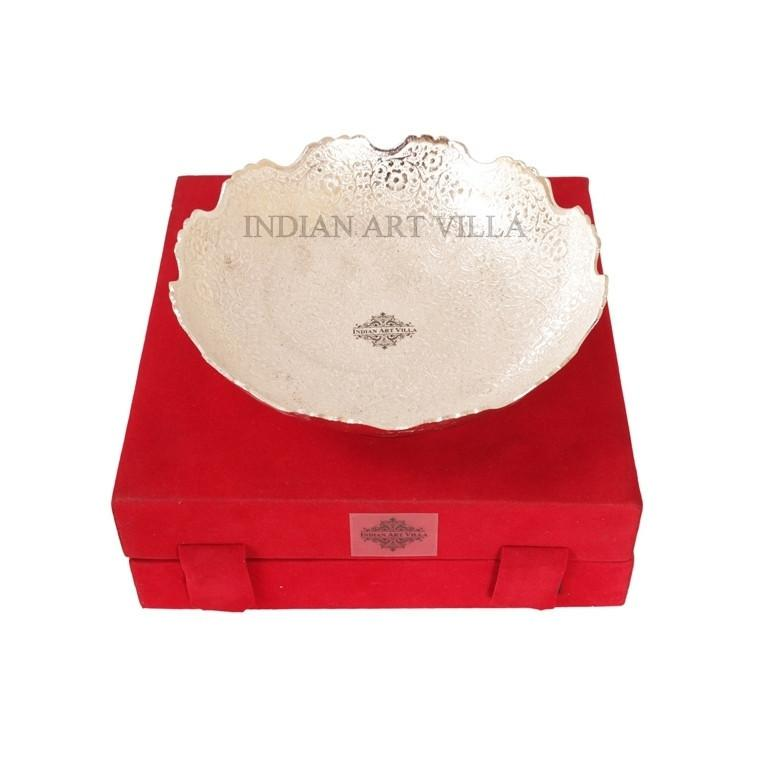 Silver Plated Round Design Deep Dish Bowl with RedBlue Velvet Gift Box