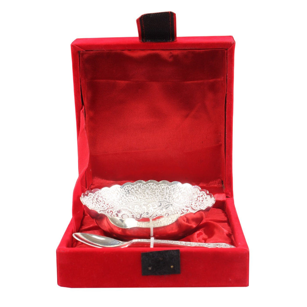 Silver Plated Set of 1 Designer Bowl with 1 Spoon 150 ML