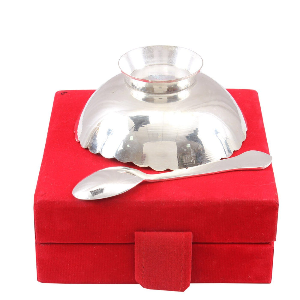 Silver Plated Set of 1 Designer Bowl with 1 Spoon 150 ML Silver Plated Combo Sets SP-3