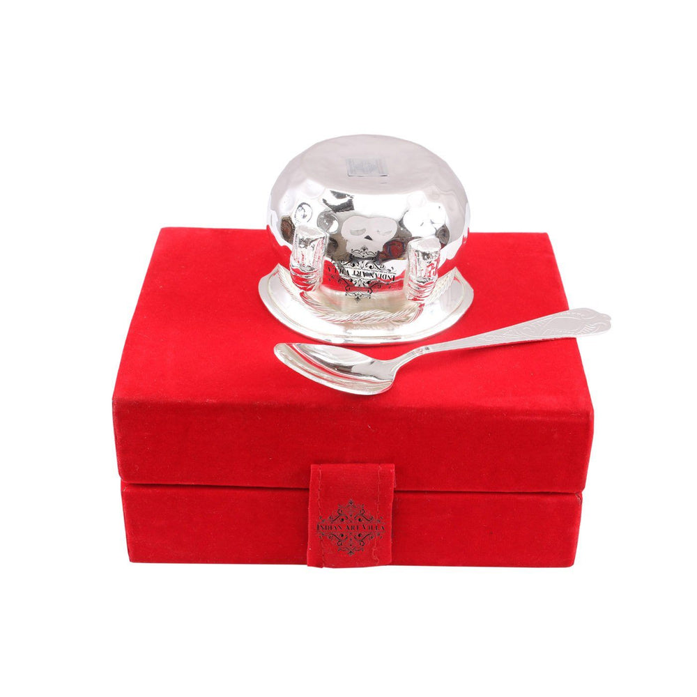 Silver Plated Set of 1 M design Bowl with 1 Spoon Silver Plated Combo Sets SP-3