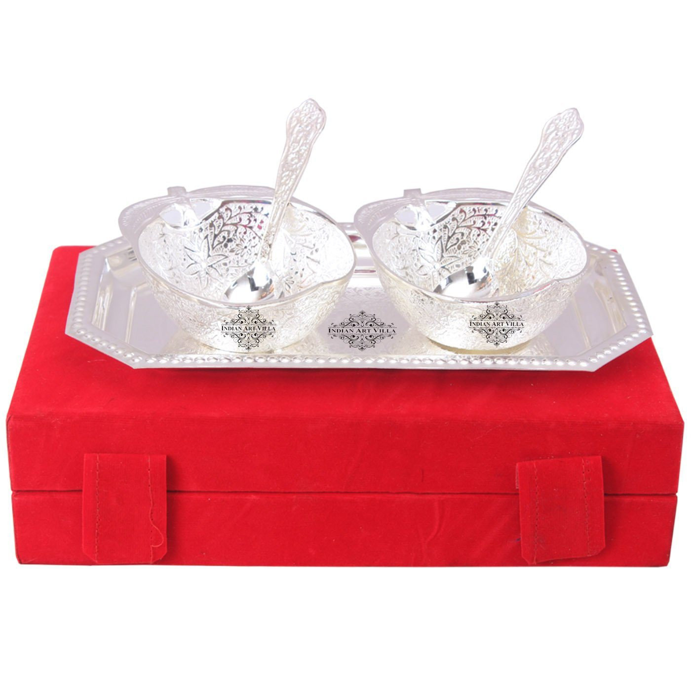 Silver Plated Set of 2 Mango Design Bowl with 2 Spoon & 1 Tray