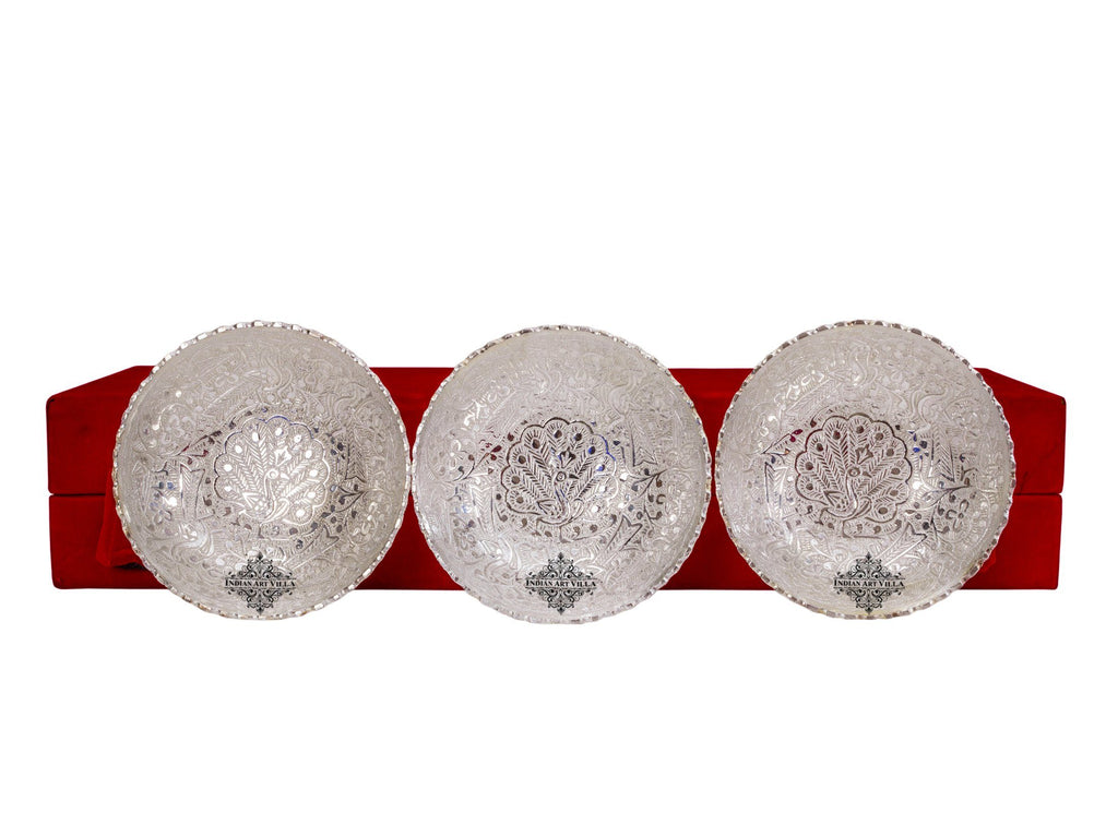 Silver Plated Set of 3 Peacock Design Bowl Silver Plated Combo Sets SP-3