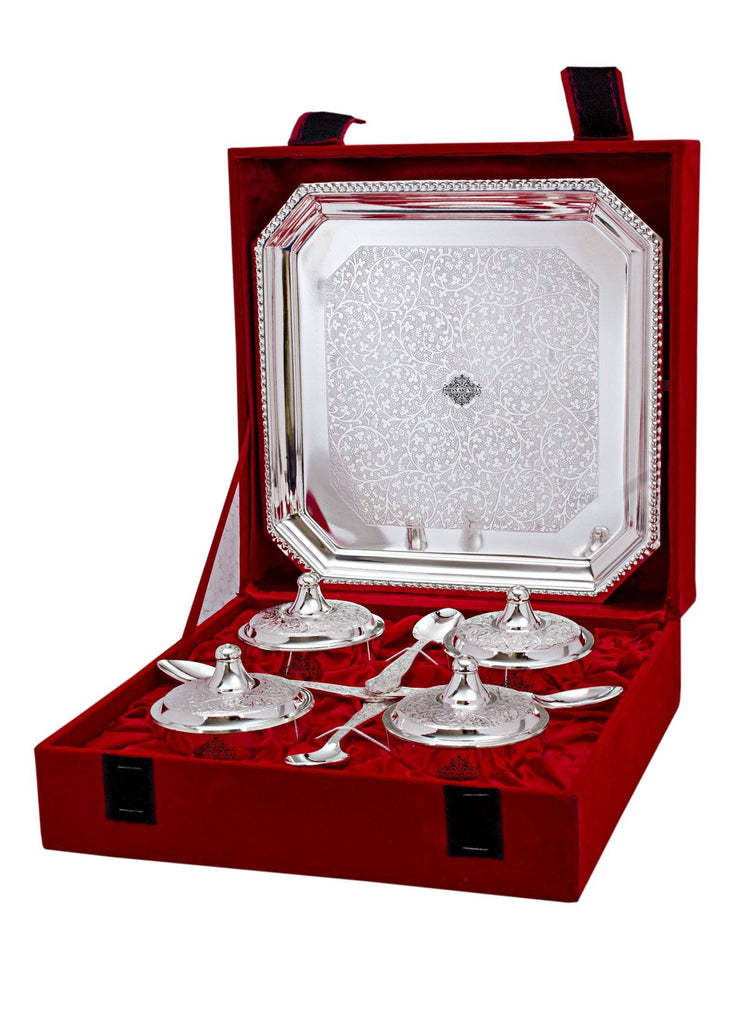 Silver Plated Set of 4 Beetel Bowl with 4 Spoon & 1 Tray