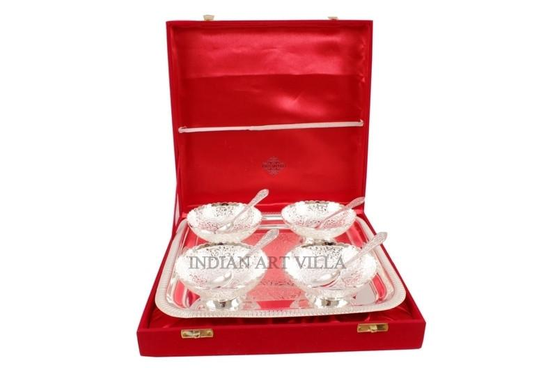 Silver Plated Set of 4 Bowl Deep Dish 4 Spoons 1 Serving Tray Gift Box