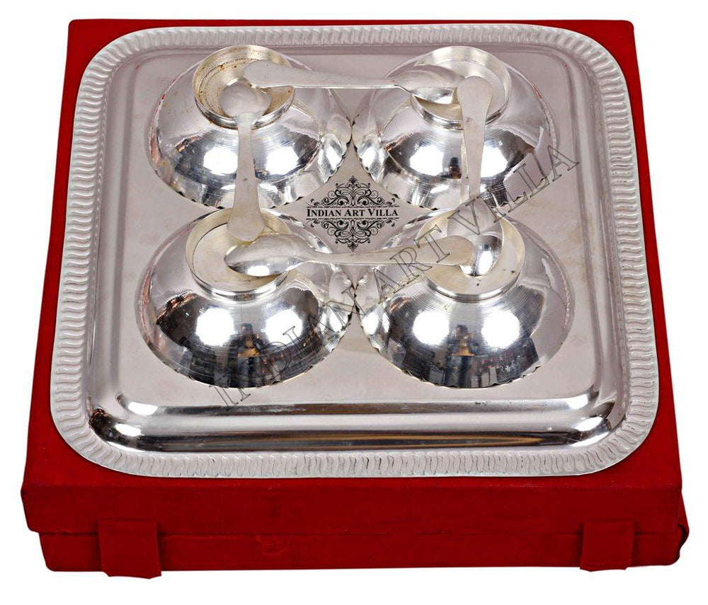 Silver Plated Set of 4 Designer Bowl & 4 Spoon & 1 Tray ( 9 Pieces ) Silver Plated Combo Sets SP-3
