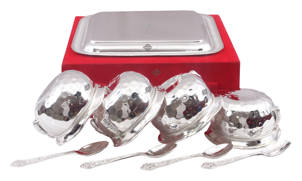 Silver Plated Set of 4 M Design Bowl with 4 Spoon & 1 Tray Silver Plated Combo Sets SP-3