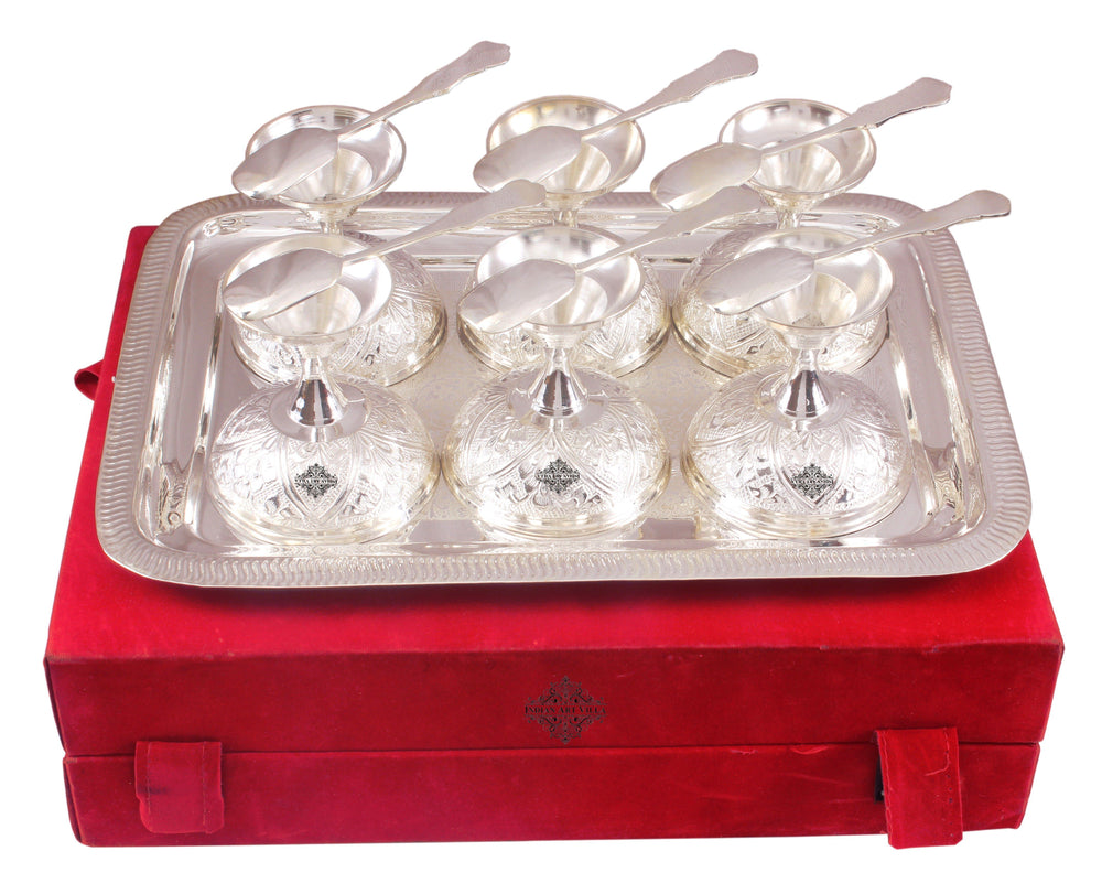 Silver Plated Set of 6 Ice Cream Bowl with 6 Spoon & 1 Tray Silver Plated Ice-Cream Bowl Sets SP-3