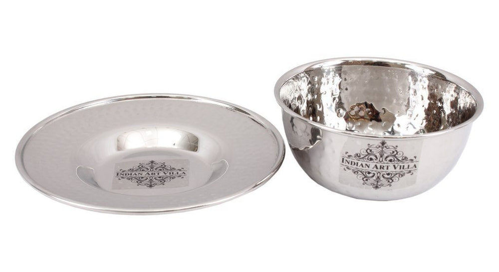 Stainless Steel Bowl with Underliner 11 Oz Steel Bowls Indian Art Villa