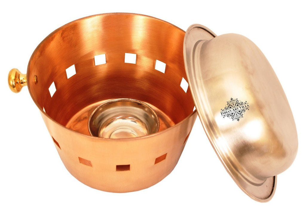 Stainless Steel Copper Serving Bowl, Pot with Coal Port Bowls Indian Art Villa Flower Shape